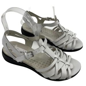 SoftWalk Taft Sandals Leather Strappy Flat White Womens 7WW